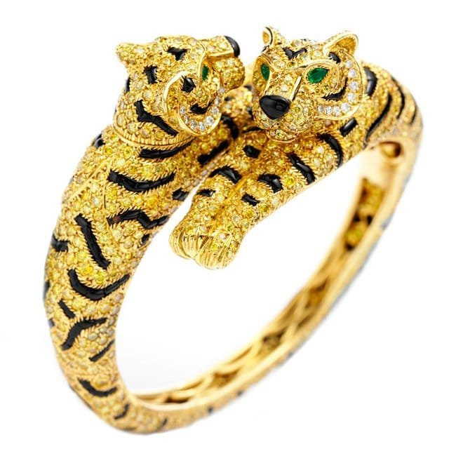 Double Headed Tiger Bangle By Cartier Luxury Branded